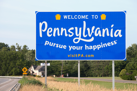 """A sign that reads """"Welcome to Pennsylvania"""""""