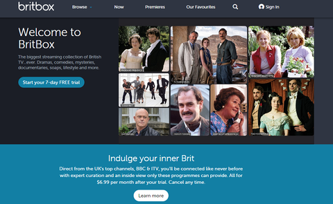 Screenshot of Britbox home page