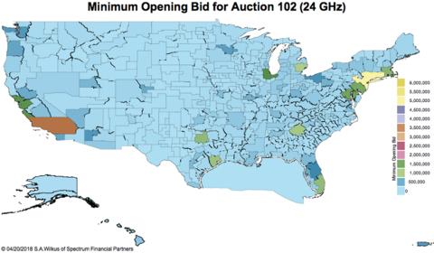 FCC 24 GHz spectrum auction map ( Stephen Wilkus / Spectrum Financial Partners)