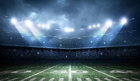 Football stadium lights and field