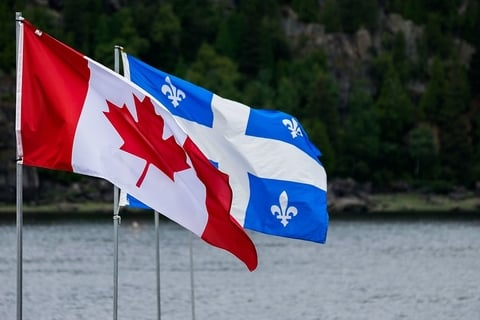 Canada and Quebec flags