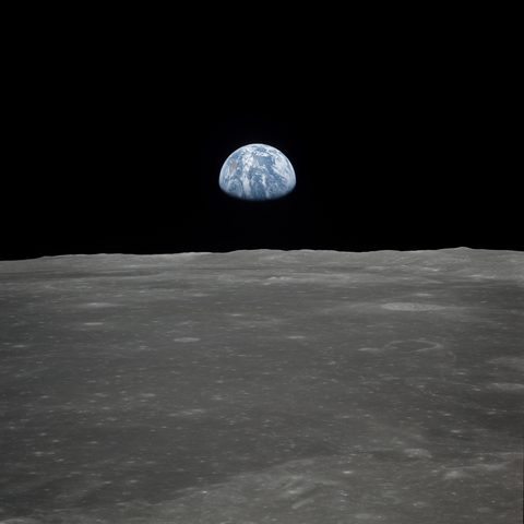 Moon with view of Earth NASA
