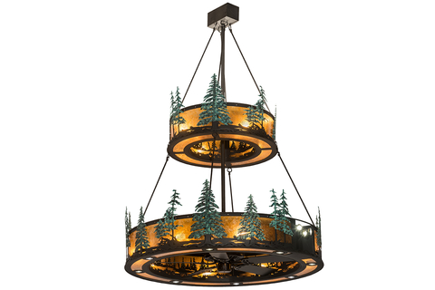 The chandelier has handpainted green pine tree silhouettes that are complemented with metal hardware in black.
