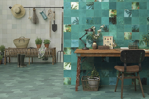 Casablanca mimics the red clay customary to the terracotta style of handmade, old world Moroccan tiles.