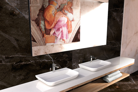 For this sink, GRAFF used its proprietary SleekStone, making the brand's newest edition to its bathwares portfolio durable.