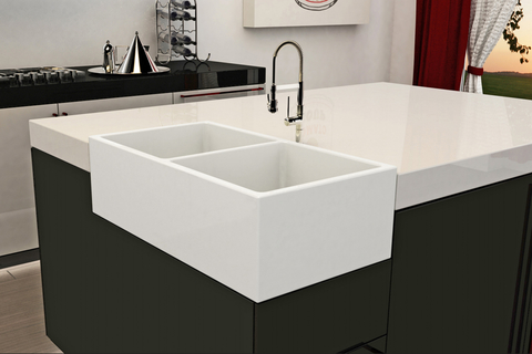 This sink offers a unique option that allows installation on the corner of a kitchen island.