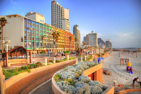 The Tel Aviv Promenade runs along the Mediterranean seashore in Tel Aviv.