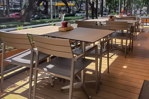 The powder-coated, all-aluminum CORE chair is offered in five colors: taupe, dark taupe, white, black and silver, in matte or gloss metal finish.