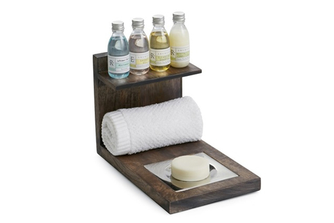 . The caddy has small shelf, hand towel storage and a soap dish all seamlessly integrated into one piece.