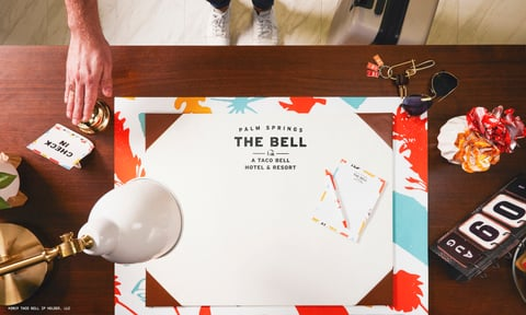 The front desk of The Bell: A Taco Bell Hotel and Resort