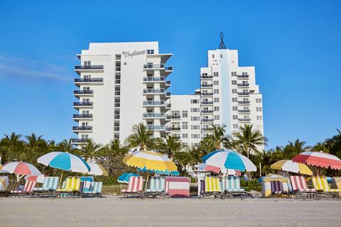 Exterior of The Confidante Miami Beach from the beach