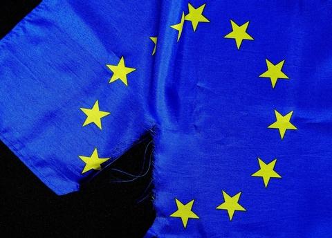 EU flag torn