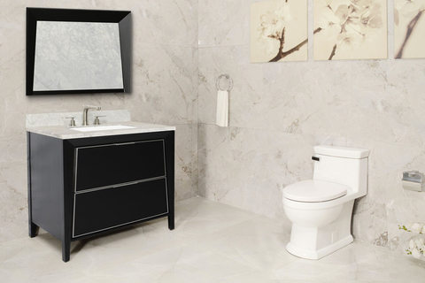 "As a high-efficiency toilet consuming only 1.28 gallons per flush, the Canto has an oversized 2 1⁄8"" trapway and 3"" flush valve to eliminate clogging."