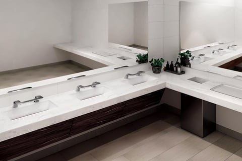WashBar is comprised of a single piece of chrome-plated metal that combines soap, water and dryer. LED lighting on the fixture helps to visually orient the user through the hand washing process.