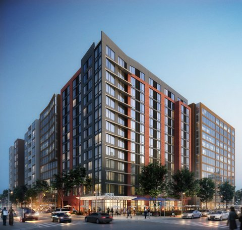 Rendering of the Holiday Inn Express in Mount Vernon Triangle