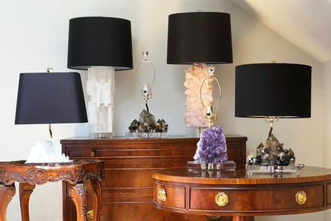 Designed by Oneka Benn Schwartz, each table lamp was handcrafted by the designer herself.