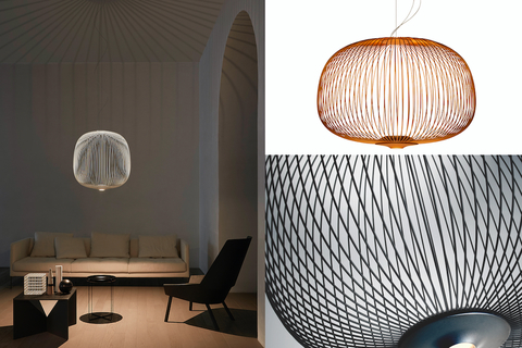 With a conceptual and utilitarian design by Garcia Cumini, the silhouette of Spokes evokes that of a birdcage or a lantern.