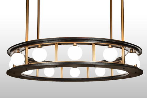 The pendant is engineered in sections and can be assembled on-site to encompass a column at the location.