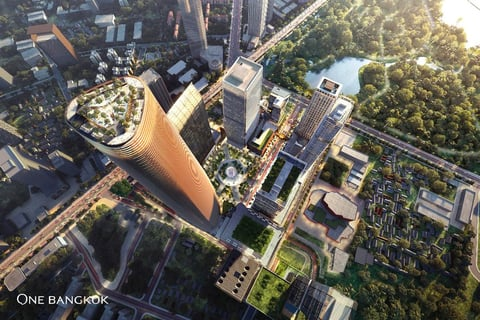 Urban designer Skidmore Owings & Merrill and Thai architectural firm A49 created the One Bangkok mixed-use development.