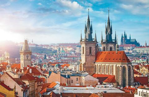 Tyn Church in the Old Town of Prague, Czech Republic.