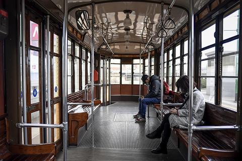 Empty tram in Milan, Italy due to Coronavirus
