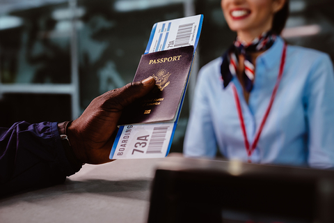 boarding pass and passport at airport