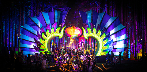 projection mapping Sherwood Forest at Electric Forest Music Festival