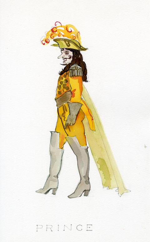 Costume sketch for Prince in Fantasio