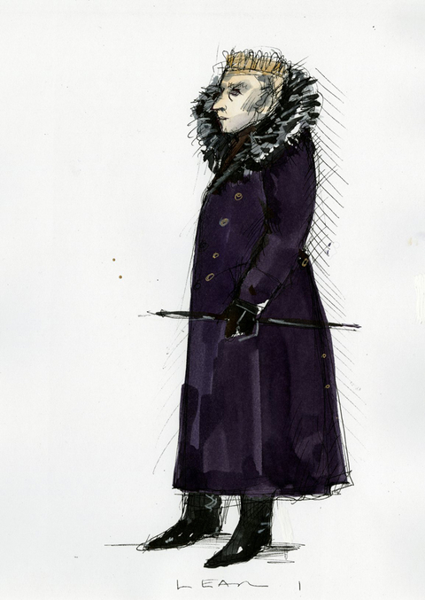 Costume sketch for Michael Pennington in King Lear