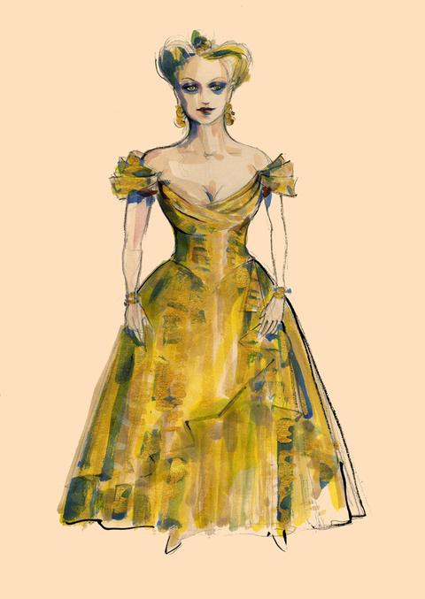 Costume sketch for Diana Damrau in La Traviata
