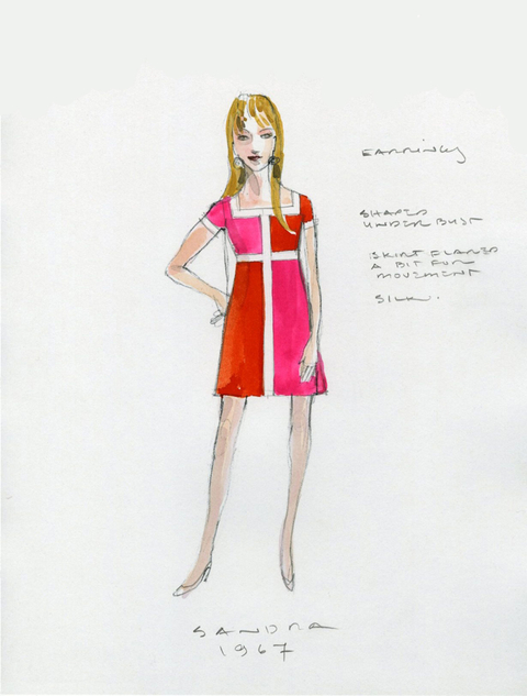 Costume sketch for Amy Ryan in Love, Love, Love