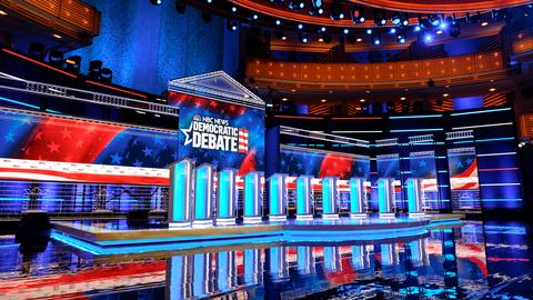 set design for first round Democratic Debate 2020