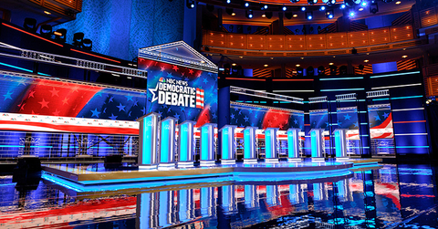 set design for first round Democratic Debate 2020