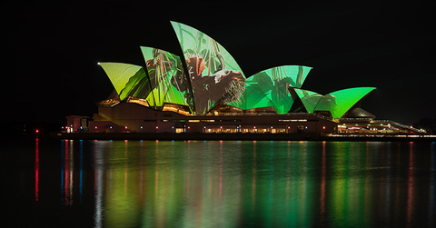 projection mapping on sails of Sydney Opera House for Vivid Sydney