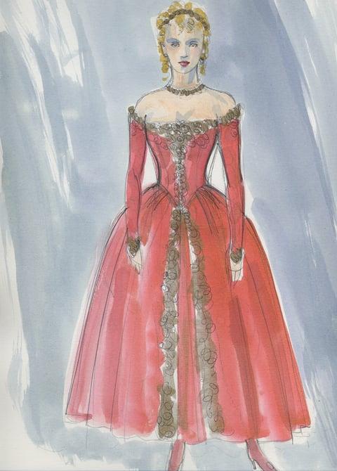 Costume sketch for Amanda Quaid in The Illusion