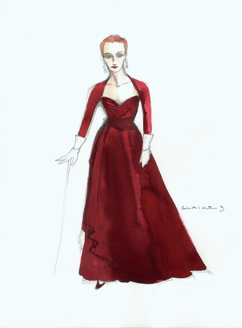 Costume sketch for Chita Rivera in The Visit