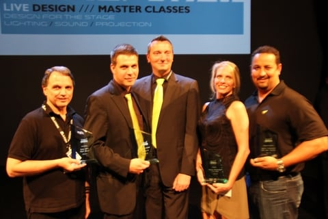 left to right Kevin Loretto of Robe Sebastian Wissman and Christian Hertel of Madrix Kim Moore of Staging Dimensions and Noel Duncan of Martin Professional recognized for Lighting Products of the Year