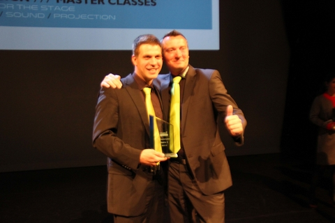 Sebastian Wissman L and Christian Hertel R accept the Lighting Product of the Year Software and Control award for Madrix 3