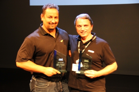 Noel Duncan L of Martin Professional and Kevin Loretto R of Robe at the awards ceremony