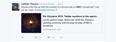 Anyone else fed up with the number of commercials on NBC39s broadcast Join me as I vent OpeningCeremony httpwwwsportingnewscomathleticsnewsrioolympics2016openingceremonynbctvcommercialstwitterd46ltrhhujz01bykqtxl5tn9e
