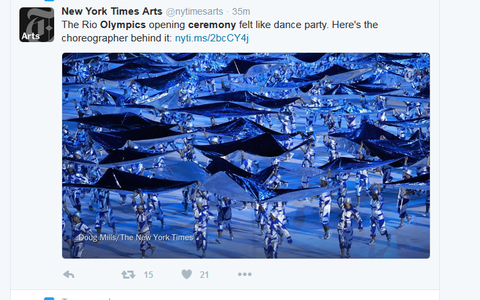 New York Times Arts rlmnytimesarts   36m36 minutes ago The Rio Olympics opening ceremony felt like dance party Here39s the choreographer behind it httpnytims2bcCY4j