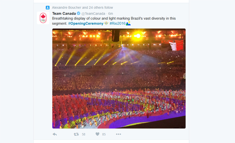 Team Canada Verified account  rlmTeamCanada   11m11 minutes ago Breathtaking display of colour and light marking Brazil39s vast diversity in this segment OpeningCeremony Rio2016