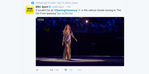 BBC Sport Verified account  rlmBBCSport   20m20 minutes ago It wouldn39t be an OpeningCeremony in Rio without Giselle moving to 39The Girl From Ipanema39 httpbbcin2b1nIry