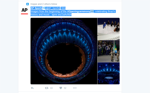 AP Sports Verified account  rlmAPSports   31m31 minutes ago Images from the beginning of the Openingceremony celebrating Brazi39s history and music httpapnews2aAv98A
