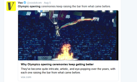 Vox Verified account  rlmvoxdotcom   Aug 5 Olympic opening ceremonies keep raising the bar from what came before