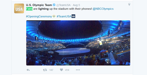 US Olympic Team Verified account  rlmTeamUSA   Aug 5    Rio de Janeiro Brazil  Fans are lighting up the stadium with their phones NBCOlympics OpeningCeremony TeamUSA