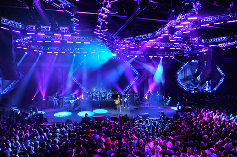 The two hexagonal truss structures above the stage each held nine Claypaky BEYE K20s six Claypaky Mythos units