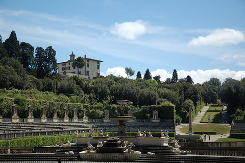 A view from afar of the Boboli Gardens in Florence