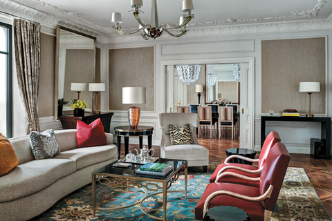 The Presidential Suite at St. Regis New York has three bedrooms, a large foyer, a formal dining room and a separate living room.
