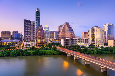 The skyline of Austin, Texas over the Colorado River